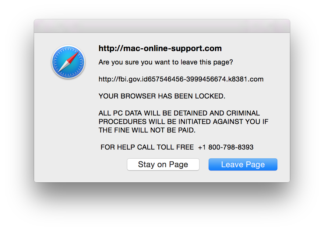 police pop up on computer mac